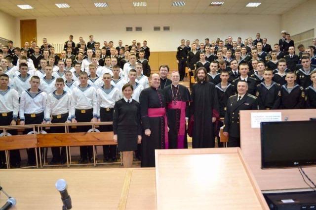 Ukrainian Maritime Academy in Odessa with the Nuncio in Ukraine, Archbishop Claudio Gugerotti